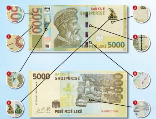 Kartëmonedhat e reja, si të dalloni elementet e sigurisë së prerjeve 200 dhe 5,000 lekë